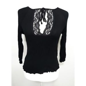 Jolie Black Crepe Lace Top Small